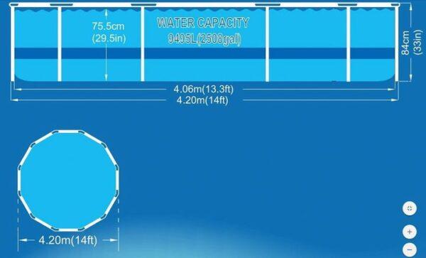 Ovanmarkspool 420x84 cm